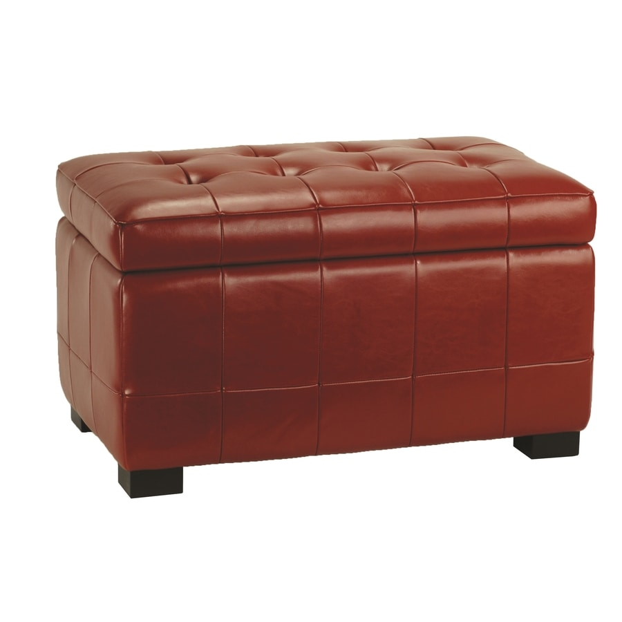 Safavieh Small Manhattan Casual Red Faux Leather Storage Ottoman