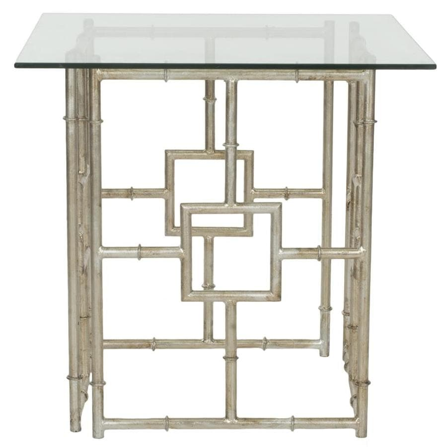 Shop safavieh riona gold white glass top end table at for Glass end tables