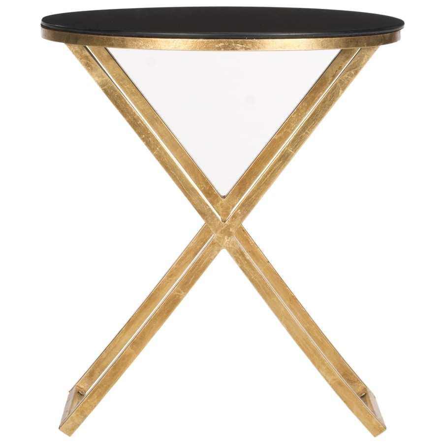 Shop safavieh riona gold black glass top end table at for Glass end tables