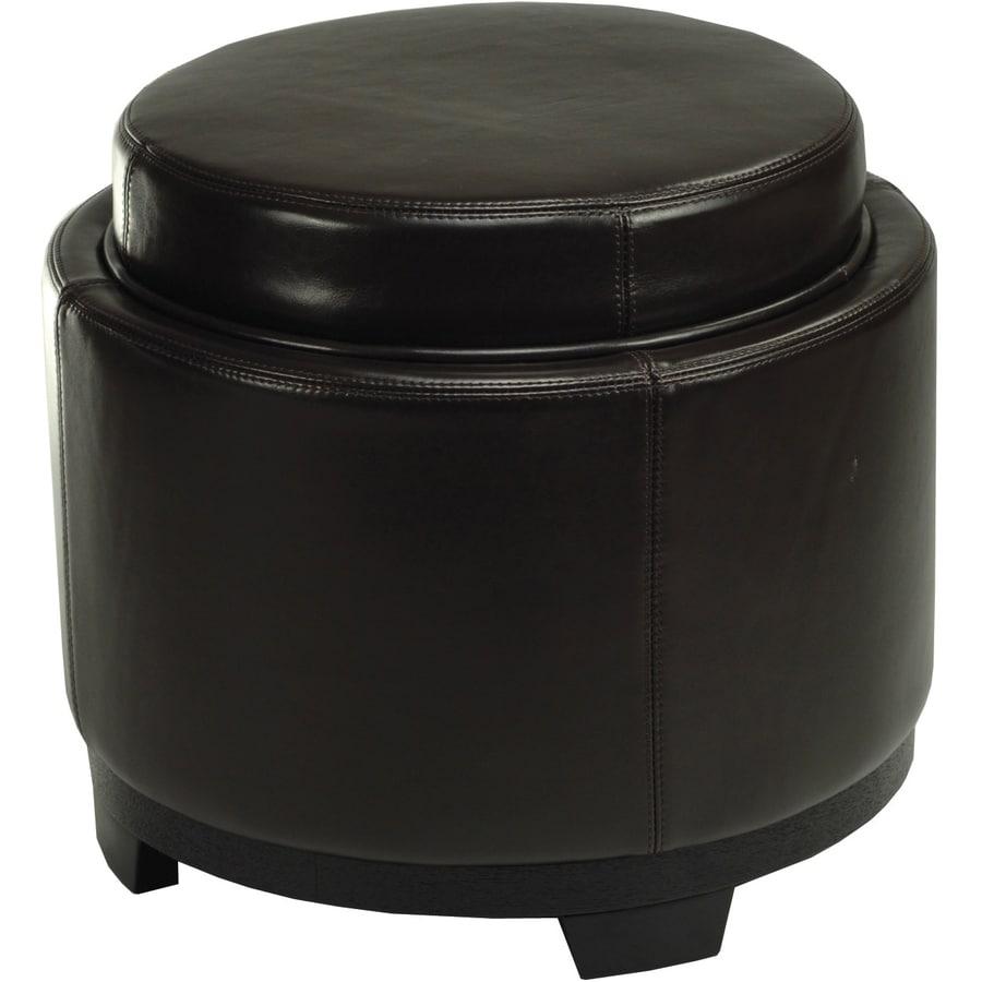 Safavieh Round Casual Brown Faux Leather Round Storage Ottoman