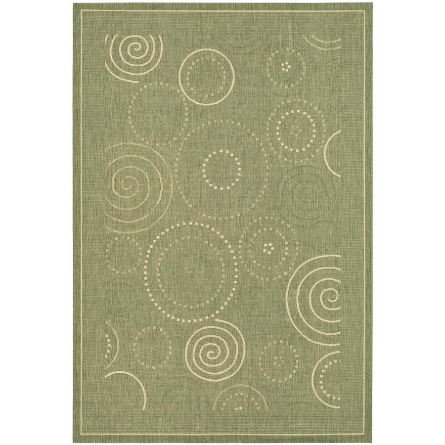 Safavieh Courtyard Circles Olive/Natural Rectangular Indoor/Outdoor Machine-made Coastal Area Rug (Common: 6 x 9; Actual: 6.58-ft W x 9.5-ft L)