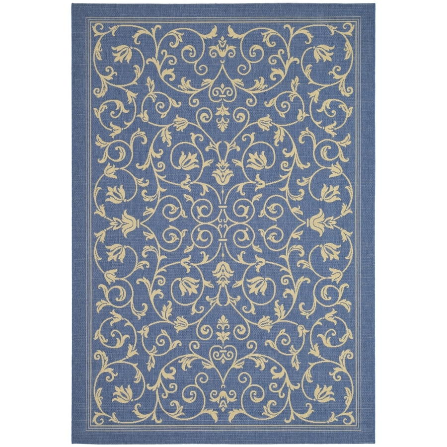 Safavieh Courtyard Blue/Natural Rectangular Indoor/Outdoor Machine-Made Coastal Area Rug (Common: 5 x 8; Actual: 5.25-ft W x 7.58333333333333-ft L x 0-ft Dia)