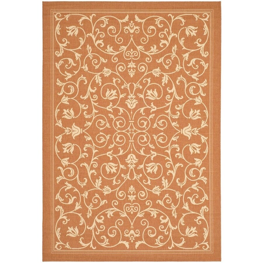 Safavieh Courtyard Terracotta/Natural Rectangular Indoor/Outdoor Machine-Made Coastal Area Rug (Common: 4 x 6; Actual: 4-ft W x 5.58333333333333-ft L x 0-ft Dia)
