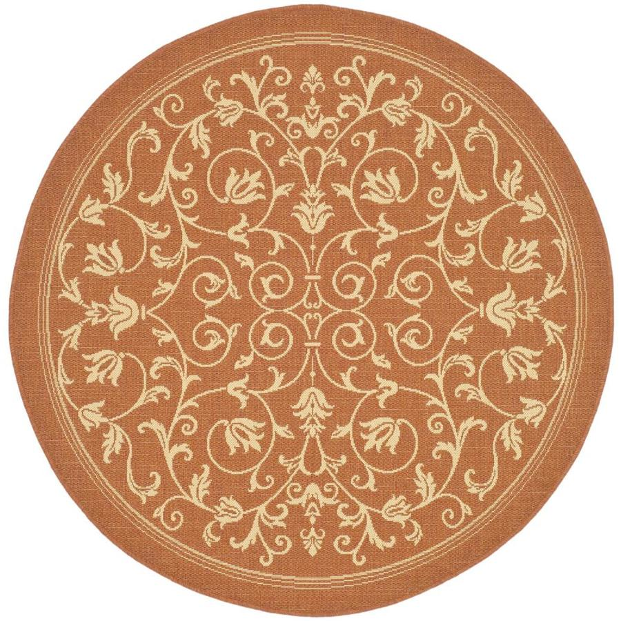 Safavieh Courtyard Heirloom Gate Terracotta/Natural Round Indoor/Outdoor Machine-made Coastal Area Rug (Common: 5 x 5; Actual: 5-ft W x 5-ft L x 5-ft Dia)