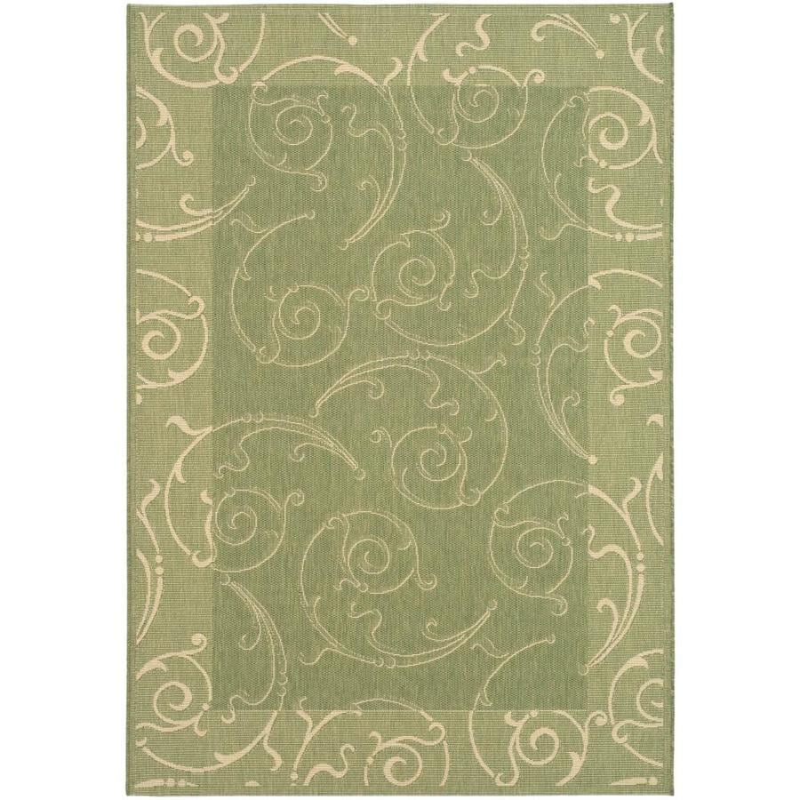 Safavieh Courtyard Sc-Roll Olive/Natural Indoor/Outdoor Coastal Area Rug (Common: 7 x 9; Actual: 6.7-ft W x 9.5-ft L)