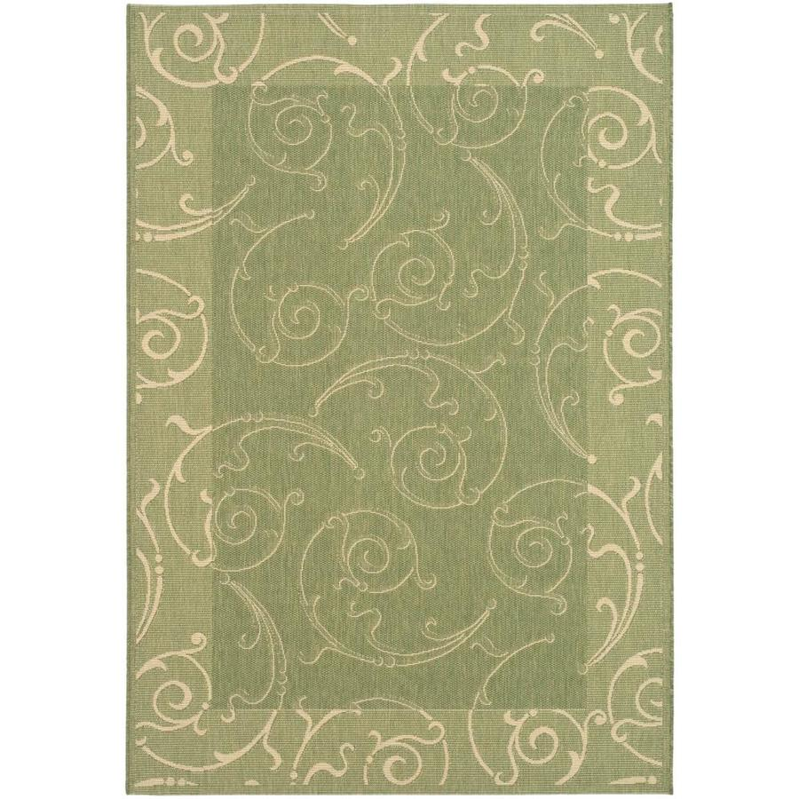 Safavieh Courtyard Olive and Natural Rectangular Indoor and Outdoor Machine-Made Area Rug (Common: 8 x 11; Actual: 96-in W x 134-in L x 0.58-ft Dia)