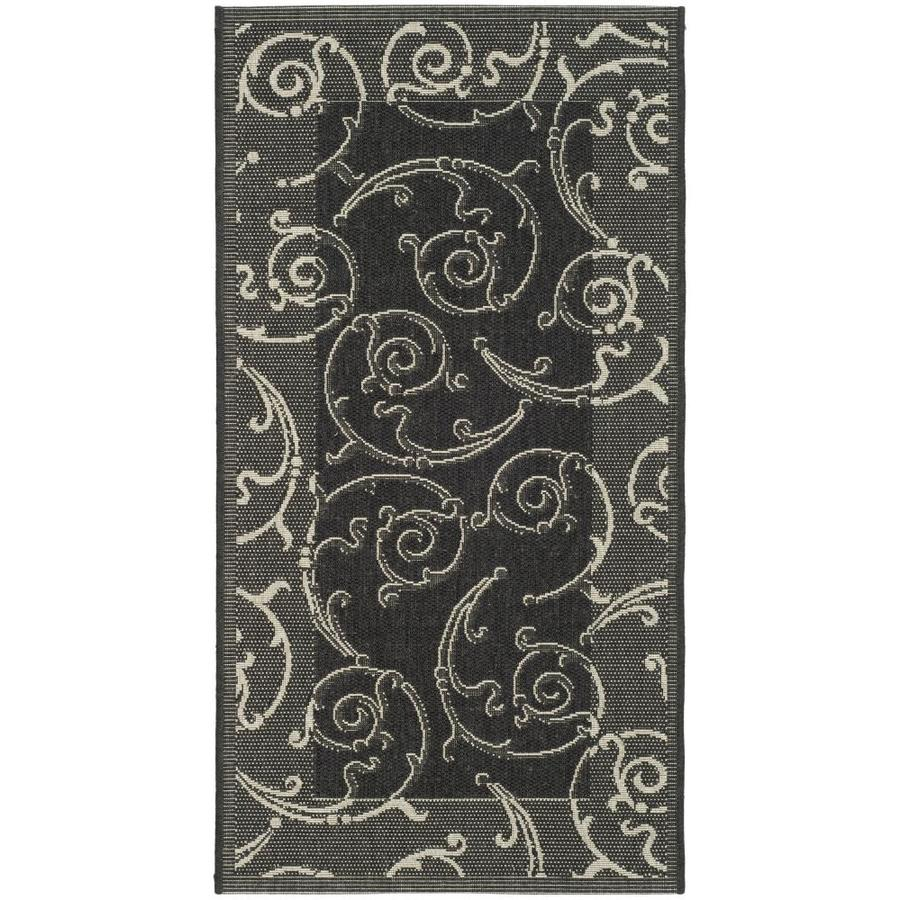 Safavieh Courtyard Black/Sand Rectangular Indoor/Outdoor Machine-Made Coastal Throw Rug (Common: 3 x 5; Actual: 2.58-ft W x 5-ft L)