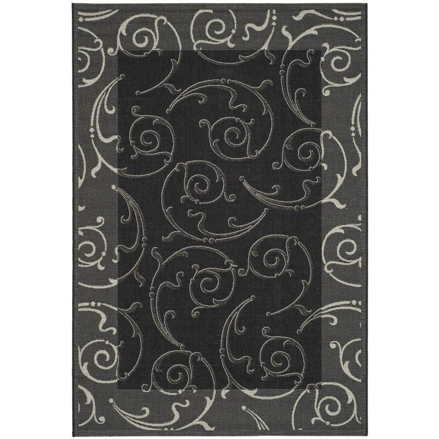 Safavieh Courtyard Sc-Roll Black/Sand Rectangular Indoor/Outdoor Machine-made Coastal Area Rug (Common: 5 x 7; Actual: 5.25-ft W x 7.58-ft L)