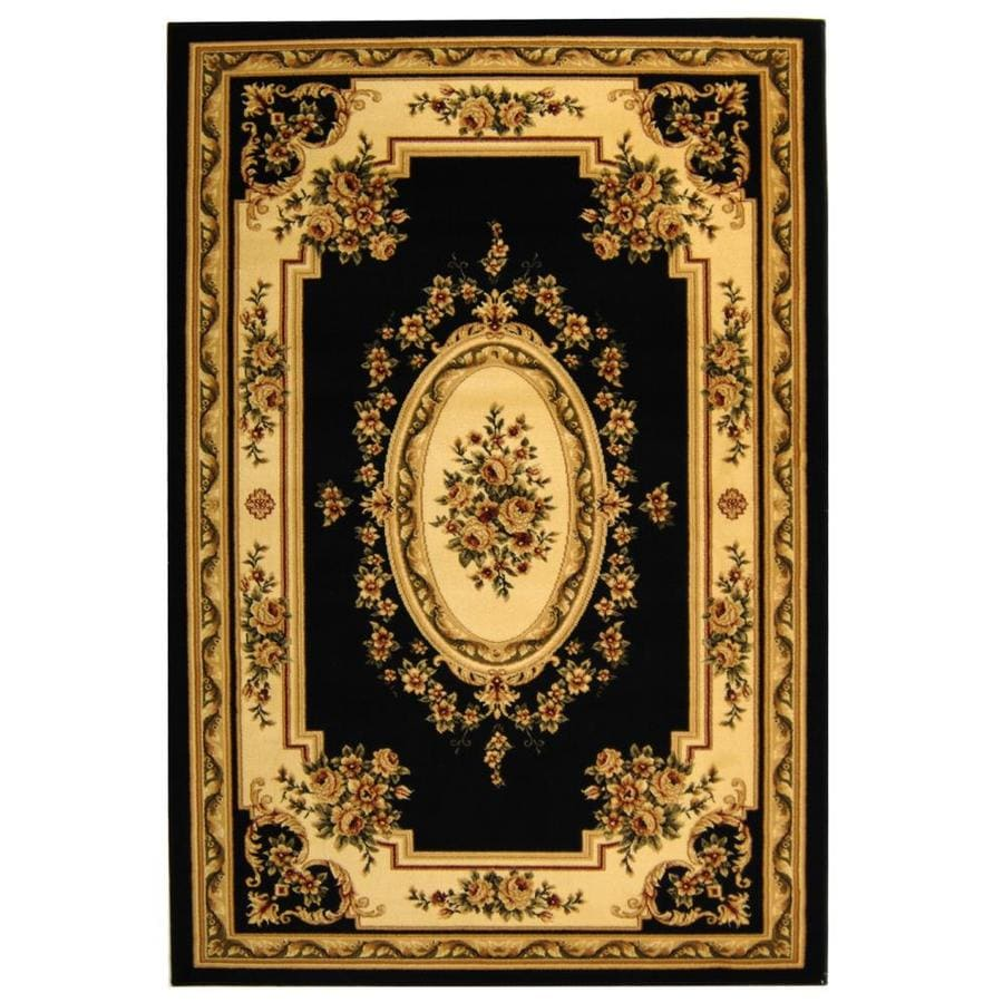 Safavieh Lyndhurst Medallion Tabriz Black/Ivory Rectangular Indoor Machine-made Oriental Area Rug (Common: 5 x 7; Actual: 5.25-ft W x 7.5-ft L)