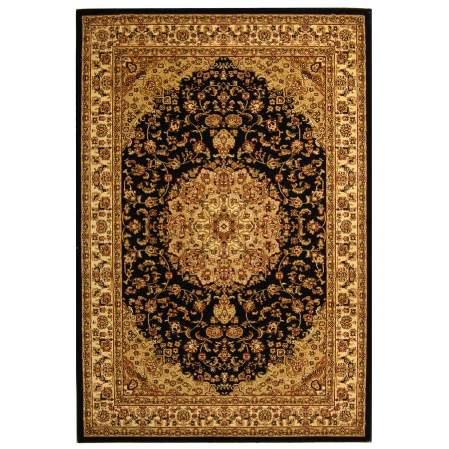 Safavieh Lyndhurst Nain Black/Ivory Indoor Oriental Area Rug (Common: 5 x 8; Actual: 5.25-ft W x 7.5-ft L)