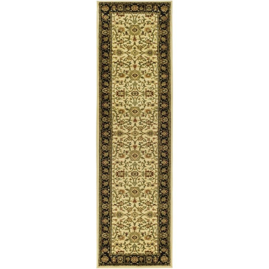 Safavieh Lyndhurst Sarouk Ivory/Black Rectangular Indoor Machine-made Oriental Runner (Common: 2 x 12; Actual: 2.25-ft W x 12-ft L)