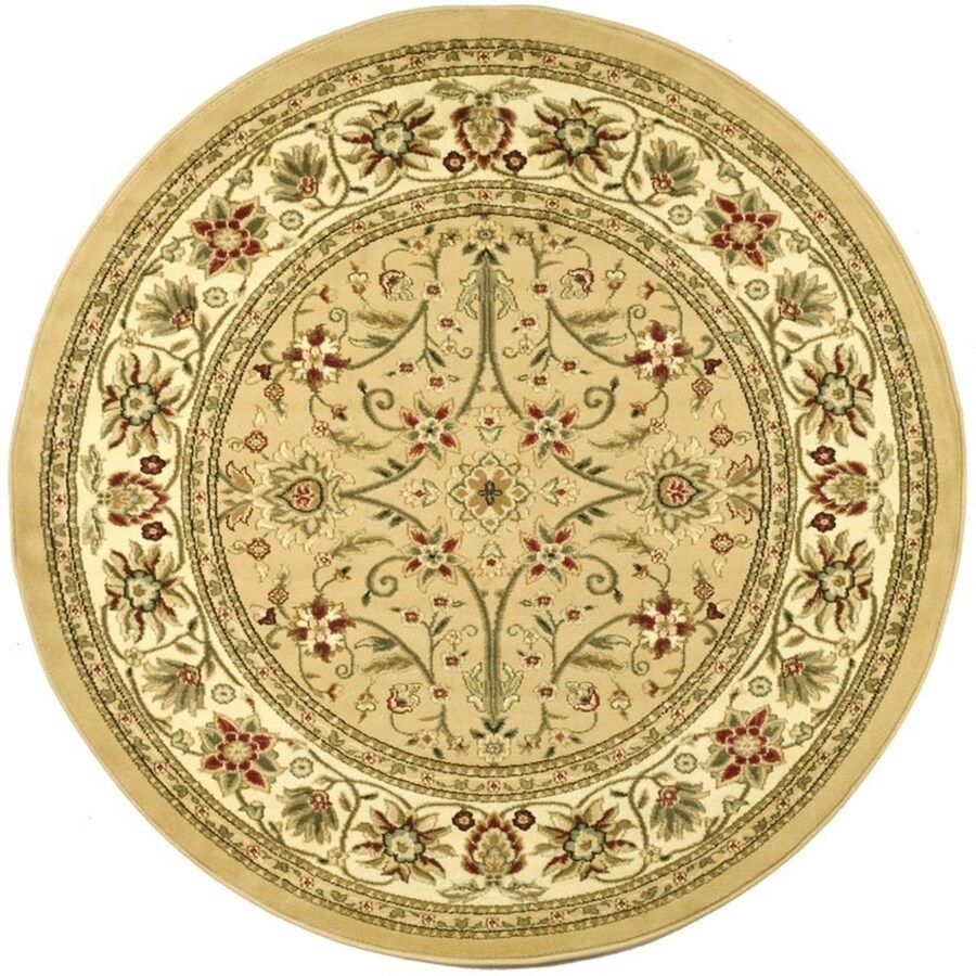 Safavieh Lyndhurst Sarouk Beige/Ivory Round Indoor Oriental Area Rug (Common: 8 x 8; Actual: 8-ft W x 8-ft L x 8-ft dia)