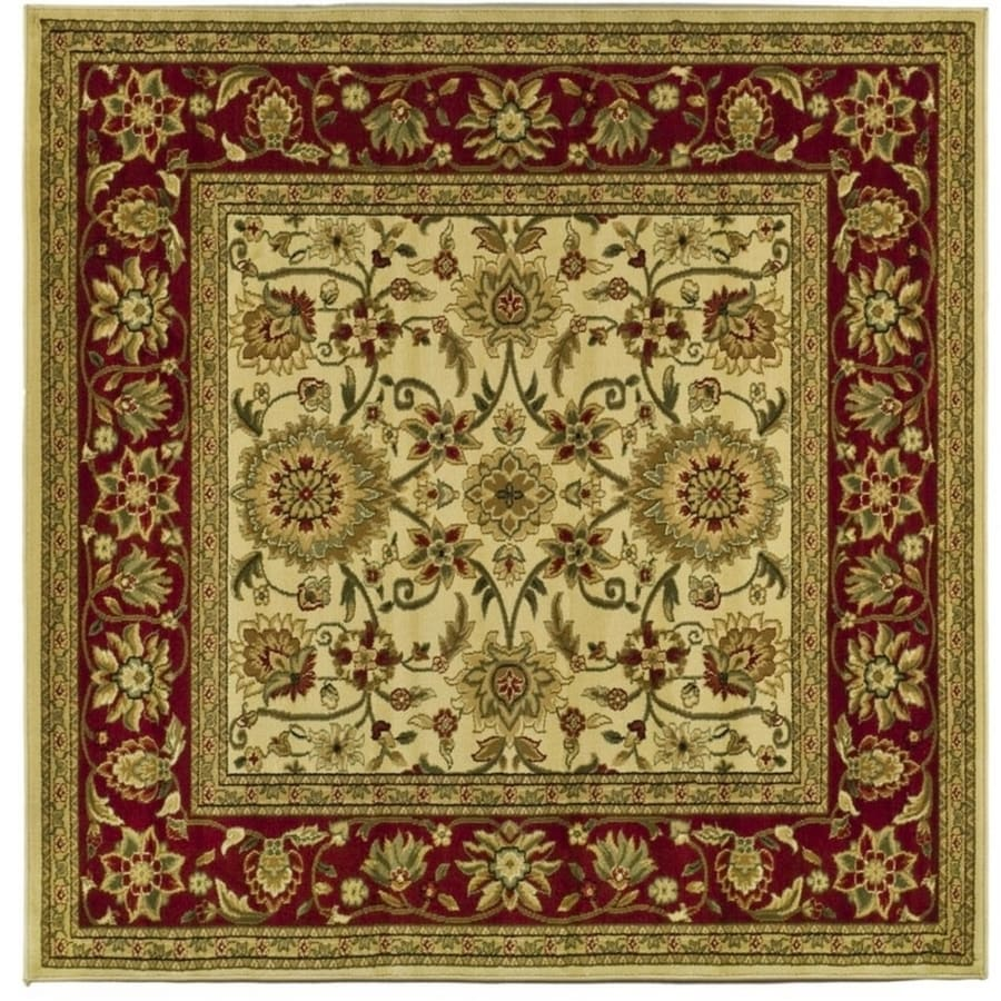 Safavieh Lyndhurst Sarouk Ivory/Red Square Indoor Machine-made Oriental Area Rug (Common: 6 x 6; Actual: 6-ft W x 6-ft L)