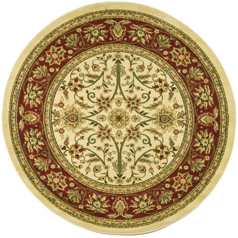 Safavieh Lyndhurst Sarouk Ivory/Red Round Indoor Oriental Area Rug (Common: 8 x 8; Actual: 8-ft W x 8-ft L x 8-ft dia)