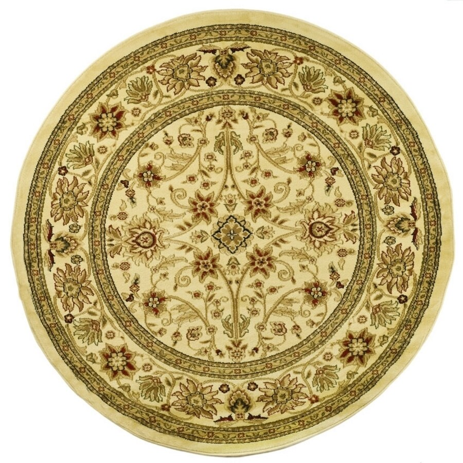 Safavieh Lyndhurst Sarouk Ivory/Ivory Round Indoor Machine-made Oriental Area Rug (Common: 5 x 5; Actual: 5.25-ft W x 5.25-ft L x 5.25-ft Dia)