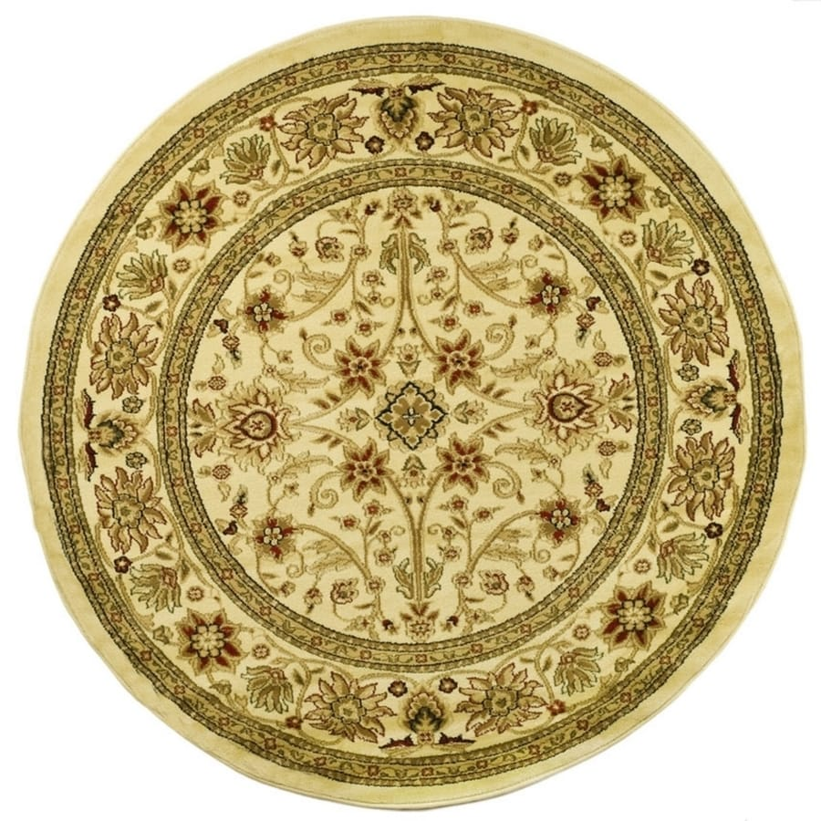 Safavieh Lyndhurst Sarouk Ivory/Ivory Round Indoor Machine-made Oriental Area Rug (Common: 8 x 8; Actual: 8-ft W x 8-ft L x 8-ft Dia)