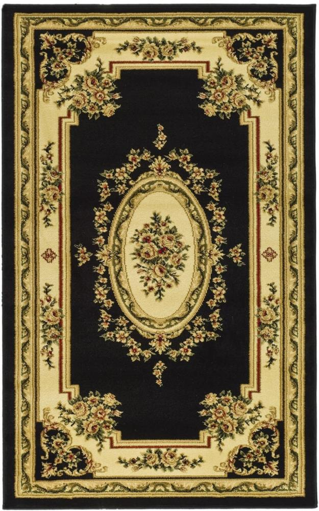 Safavieh Lyndhurst Medallion Tabriz Black/Ivory Indoor Oriental Throw Rug (Common: 3 x 5; Actual: 3.25-ft W x 5.25-ft L)
