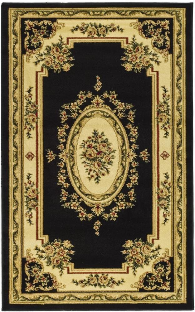 Safavieh Lyndhurst Medallion Tabriz Black/Ivory Rectangular Indoor Machine-made Oriental Throw Rug (Common: 3 x 5; Actual: 3.25-ft W x 5.25-ft L)