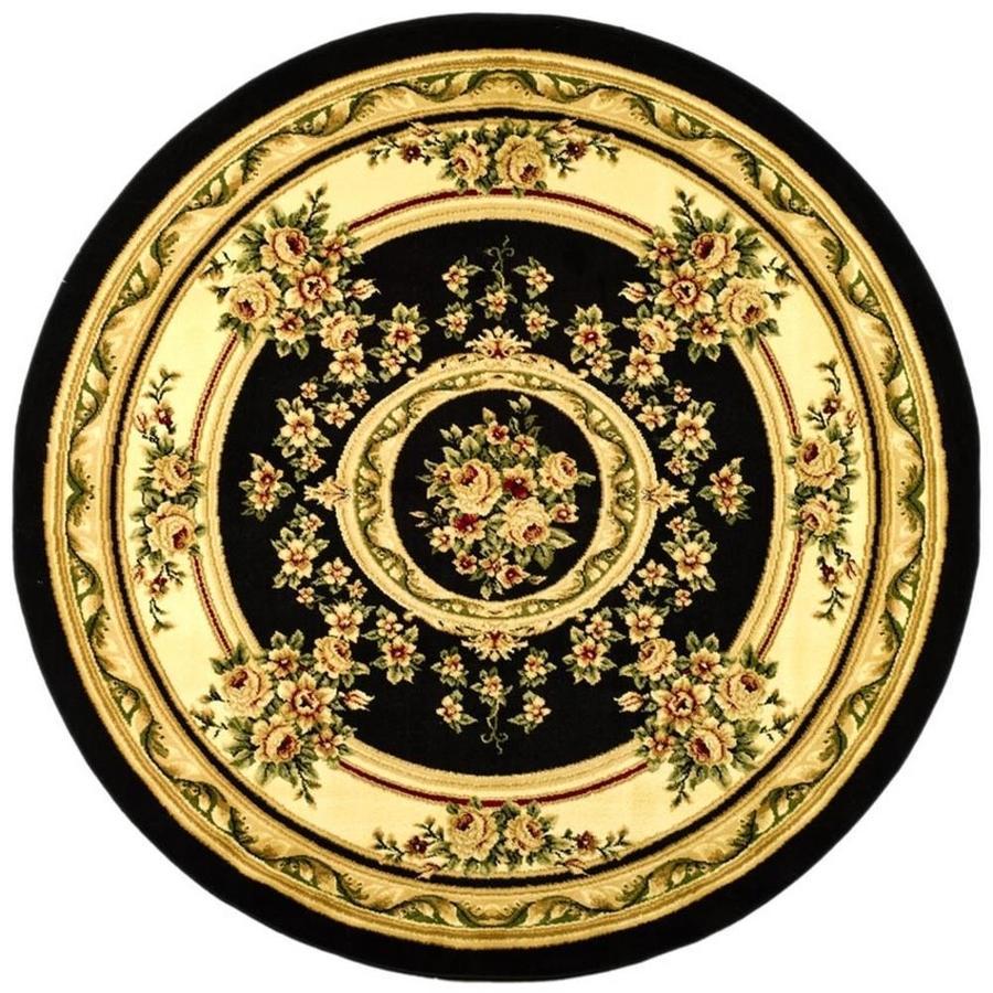 Safavieh Lyndhurst Medallion Tabriz Black/Ivory Round Indoor Machine-made Oriental Area Rug (Common: 5 x 5; Actual: 5.25-ft W x 5.25-ft L x 5.25-ft Dia)