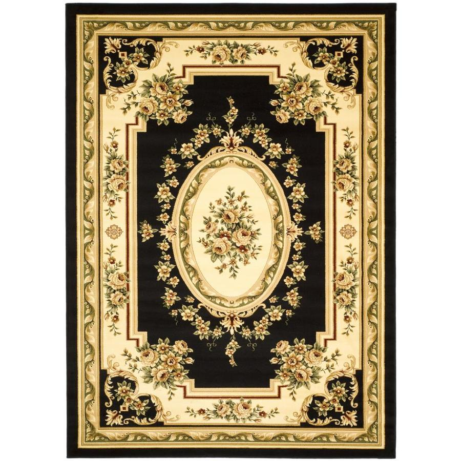 Safavieh Lyndhurst Black and Ivory Rectangular Indoor Machine-Made Area Rug (Common: 8 x 10; Actual: 96-in W x 120-in L x 0.58-ft Dia)