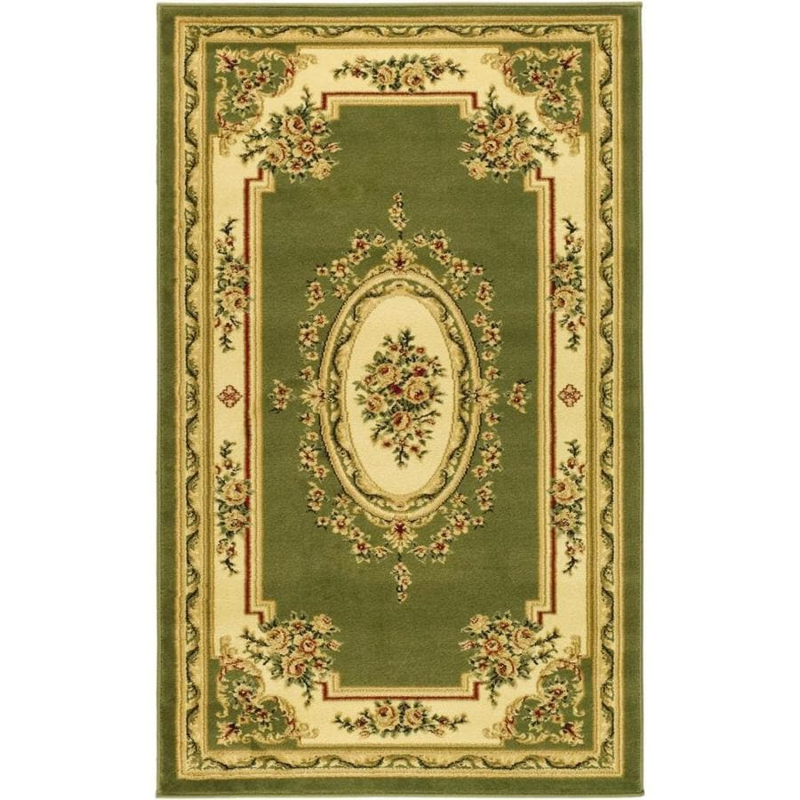 Safavieh Lyndhurst Medallion Tabriz Sage/Ivory Rectangular Indoor Machine-made Oriental Throw Rug (Common: 3 x 5; Actual: 3.25-ft W x 5.25-ft L)