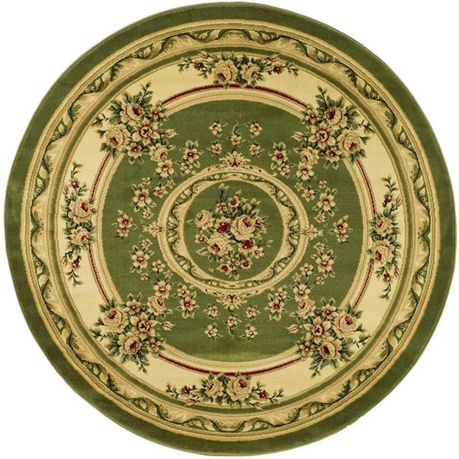 Safavieh Lyndhurst Medallion Tabriz Sage/Ivory Round Indoor Oriental Area Rug (Common: 8 x 8; Actual: 8-ft W x 8-ft L x 8-ft dia)