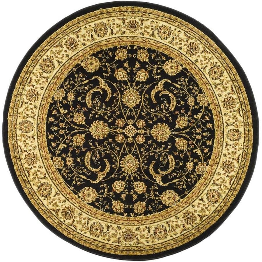 Safavieh Lyndhurst Black/Ivory Round Indoor Machine-Made Oriental Area Rug (Common: 5 x 5; Actual: 5.25-ft W x 5.25-ft L x 5.25-ft Dia)