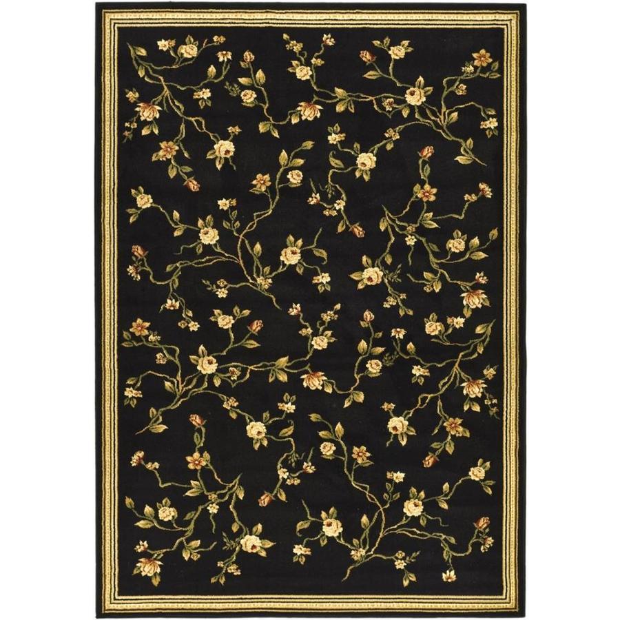 Safavieh Lyndhurst Garden Floral Black Rectangular Indoor Machine-made Oriental Area Rug (Common: 8 x 11; Actual: 8-ft W x 11-ft L)