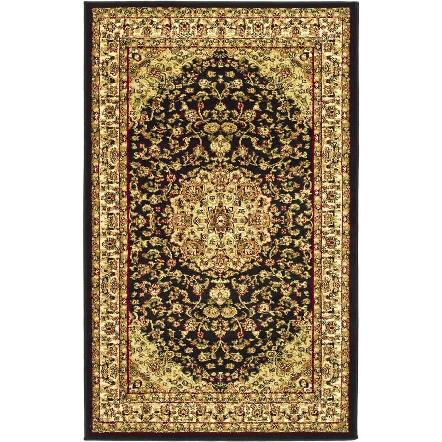 Safavieh Lyndhurst Nain Black/Ivory Indoor Oriental Throw Rug (Common: 3 x 5; Actual: 3.25-ft W x 5.25-ft L)