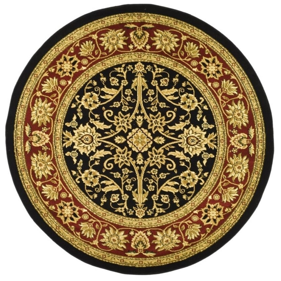 Safavieh Lyndhurst Sarouk Black/Red Round Indoor Machine-made Oriental Area Rug (Common: 5 x 5; Actual: 5.25-ft W x 5.25-ft L x 5.25-ft dia)