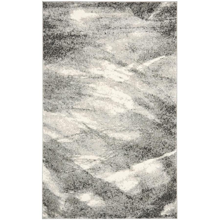 Safavieh Retro Gray/Ivory Rectangular Indoor Machine-Made Distressed Area Rug (Common: 4 x 6; Actual: 4-ft W x 6-ft L x 0-ft Dia)