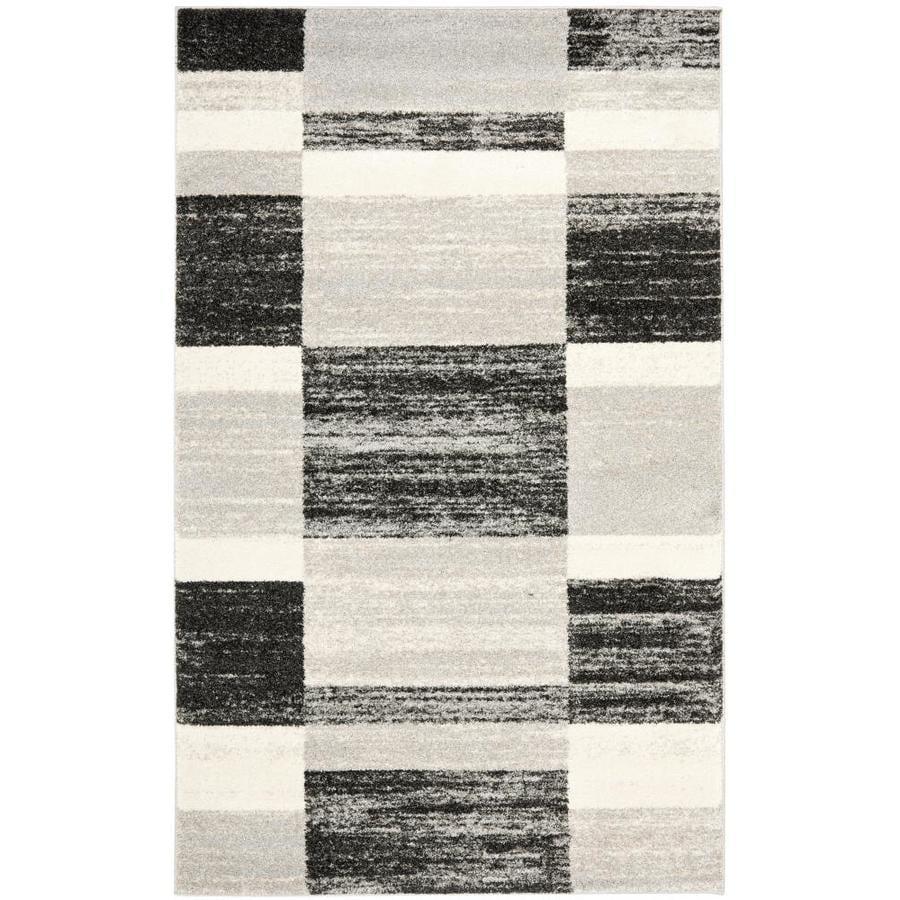 Safavieh Retro Black/Light Gray Rectangular Indoor Machine-Made Distressed Area Rug (Common: 4 x 6; Actual: 4-ft W x 6-ft L x 0-ft Dia)