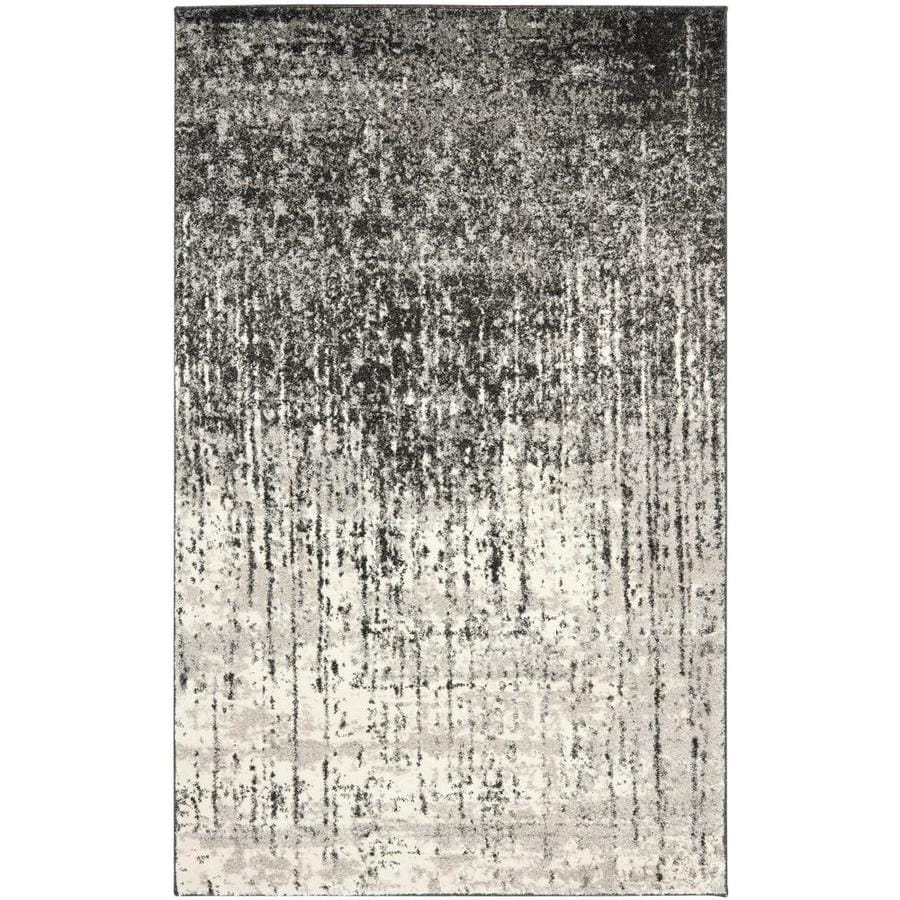 Safavieh Retro Elan Black/Light Gray Indoor Distressed Area Rug (Common: 4 x 6; Actual: 4-ft W x 6-ft L)