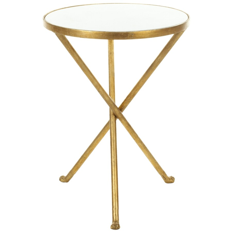 Safavieh Marcie White Gold Legs Gl Modern End Table