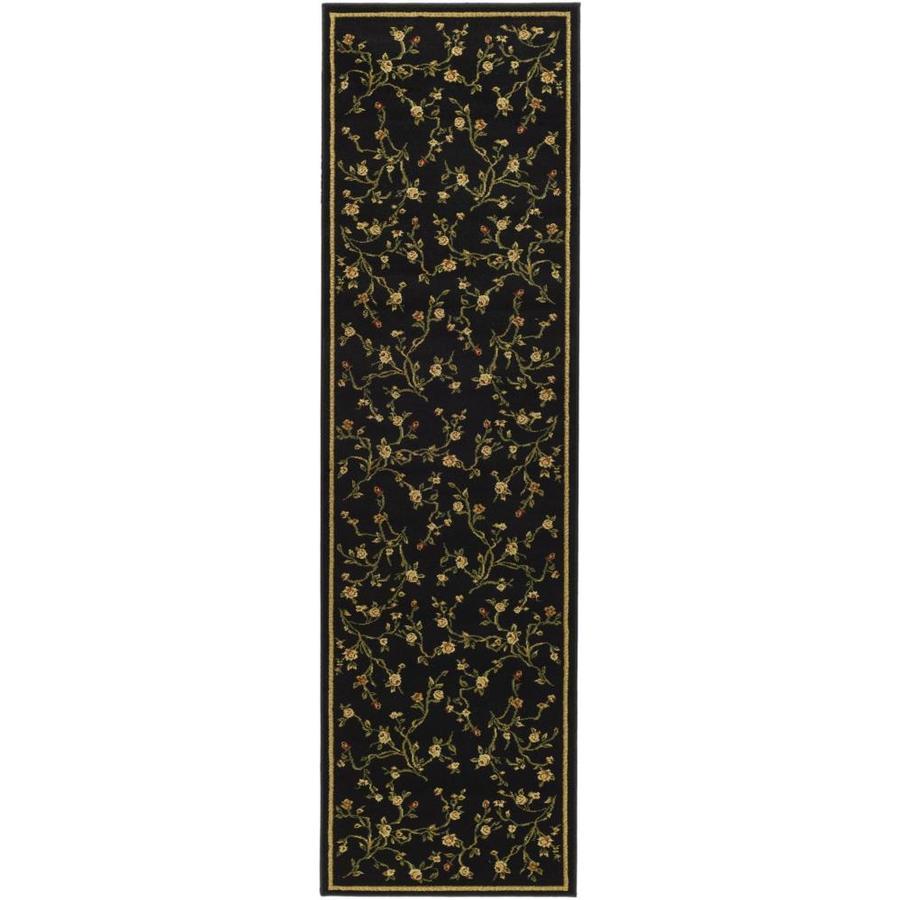 Safavieh Lyndhurst Garden Floral Black Indoor Oriental Runner (Common: 2 x 20; Actual: 2.25-ft W x 20-ft L)
