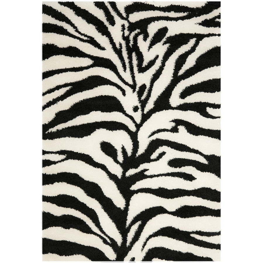 Safavieh Zebra Shag Ivory/Black Indoor Animals Throw Rug (Common: 3 x 5; Actual: 3.25-ft W x 5.25-ft L)