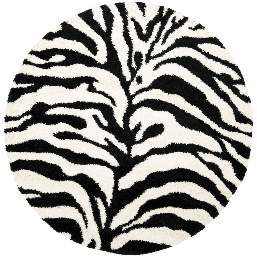 Safavieh Zebra Shag Ivory/Black Round Indoor Machine-Made Area Rug (Actual: 6.583-ft dia)