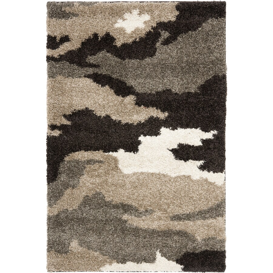 Safavieh Camouflage Shag Beige Indoor Lodge Throw Rug (Common: 3 x 5; Actual: 3.25-ft W x 5.25-ft L)