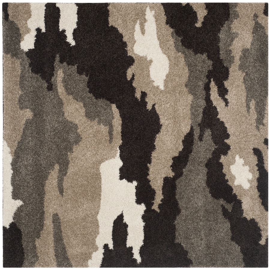 Safavieh Camouflage Shag Beige/Multi Square Indoor Machine-made Lodge Area Rug (Common: 6 x 6; Actual: 6.583-ft W x 6.583-ft L)