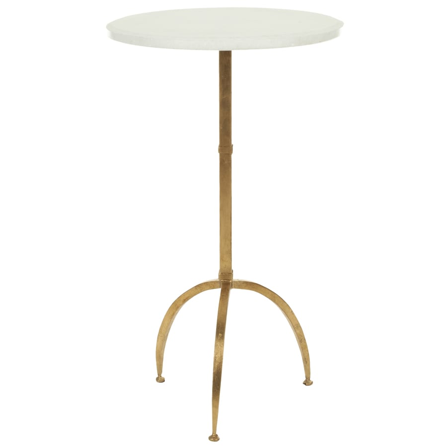 Safavieh Myrna White/Gold Legs Glass Modern End Table