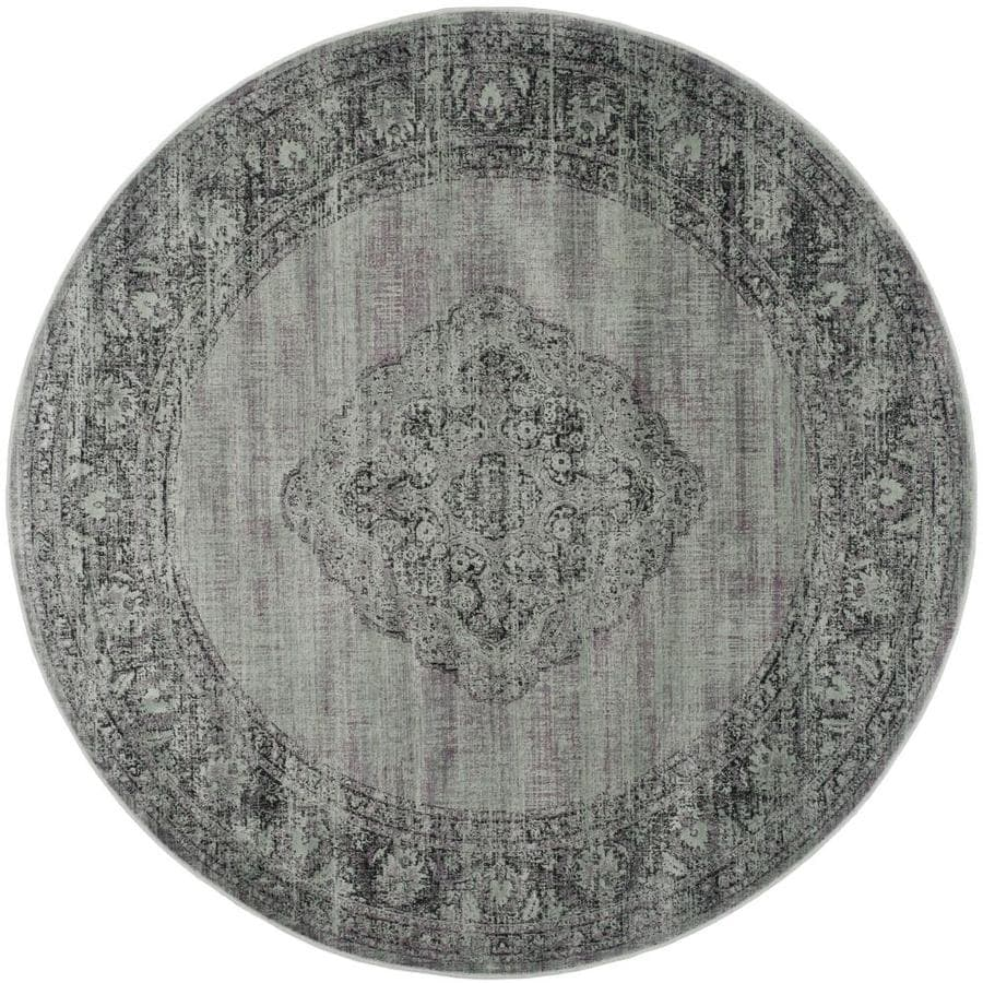 Safavieh Vintage Light Blue Round Indoor Machine-Made Distressed Area Rug (Common: 6 x 6; Actual: 6-ft W x 6-ft L x 6-ft Dia)