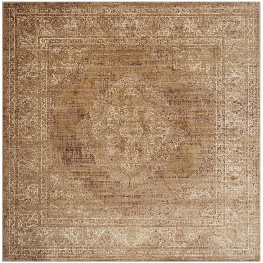 Safavieh Vintage Mezra Taupe Square Indoor Machine-made Distressed Area Rug (Common: 6 x 6; Actual: 6-ft W x 6-ft L)