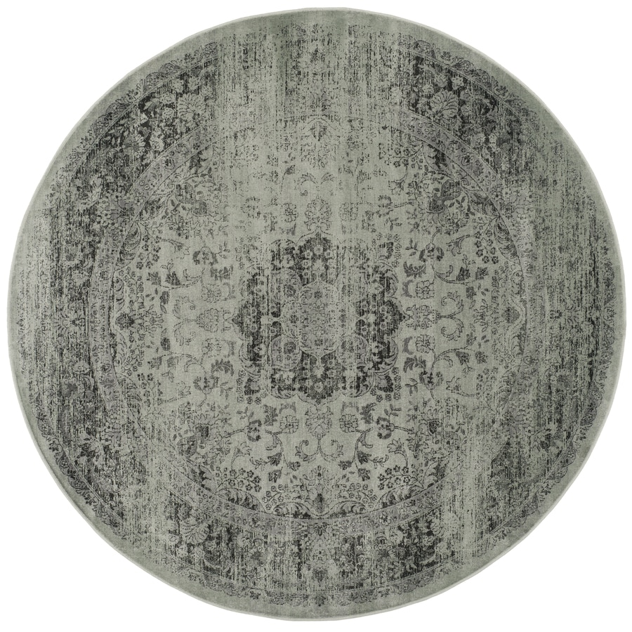 Safavieh Vintage Alhia Spruce/Ivory Round Indoor Machine-made Distressed Area Rug (Common: 6 x 6; Actual: 6-ft W x 6-ft L x 6-ft Dia)