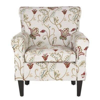 Safavieh Hazina Casual White Red Flower Printed Accent Chair At
