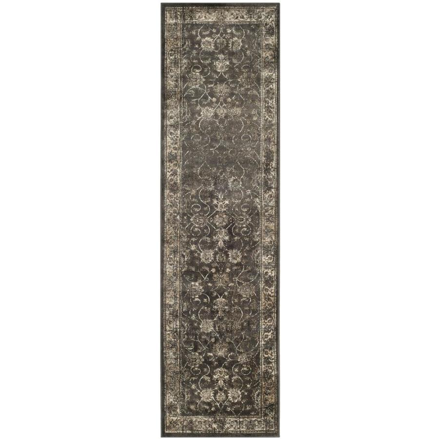 Safavieh Vintage Mosed Soft Anthracite Rectangular Indoor Machine-made Distressed Runner (Common: 2 x 12; Actual: 2.2-ft W x 12-ft L)