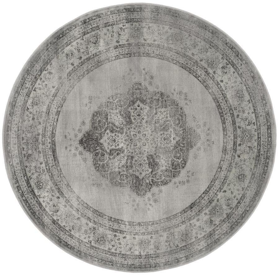 Safavieh Vintage Gray/Multi Round Indoor Machine-Made Distressed Area Rug (Common: 6 x 6; Actual: 6-ft W x 6-ft L x 6-ft Dia)