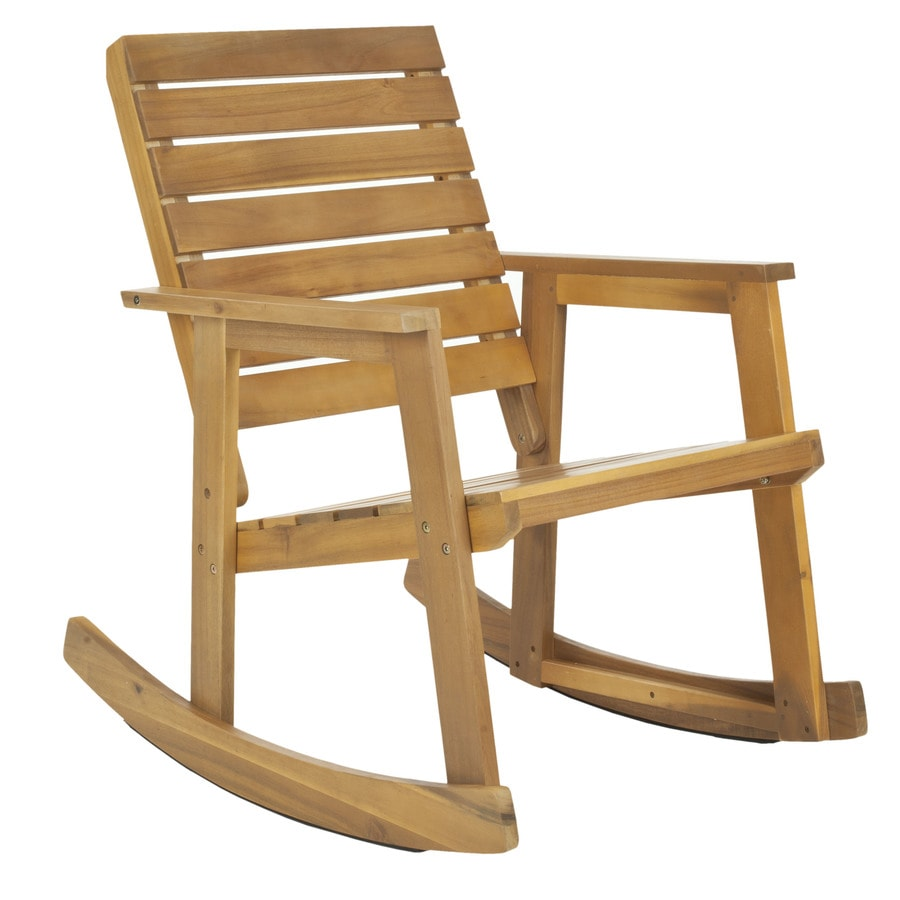 Shop safavieh alexei 1 count teak wood patio rocking chair with at - Rocking chair but ...
