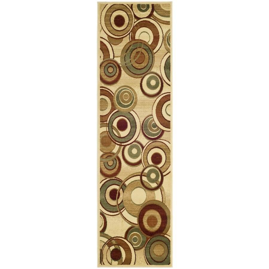 Safavieh Lyndhurst Modern Circles Ivory Indoor Runner (Common: 2 x 18; Actual: 2.25-ft W x 18-ft L)