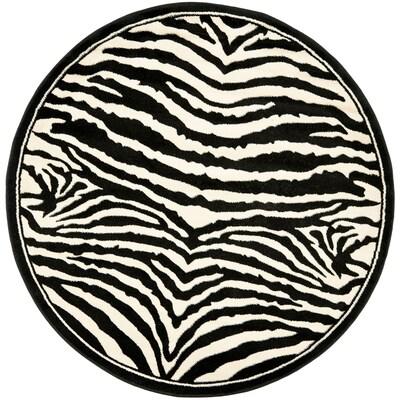 Lyndhurst Zebra White Black Round Indoor Machine Made Lodge Area Rug Common 7 X Actual Ft Dia
