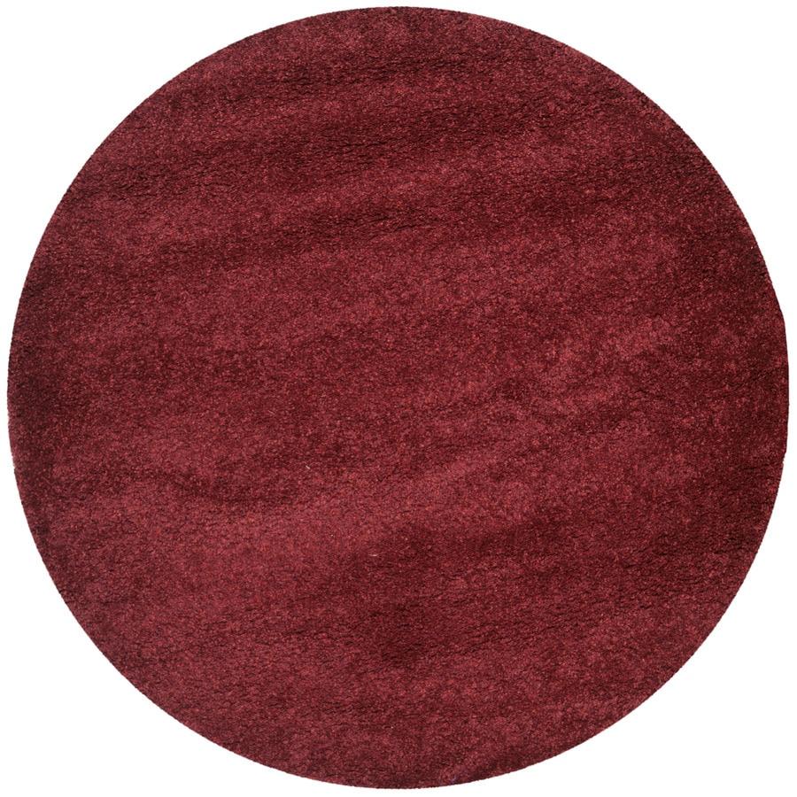 shop safavieh california shag maroon round indoor area rug common 4 x 4 actual 4 ft dia at. Black Bedroom Furniture Sets. Home Design Ideas